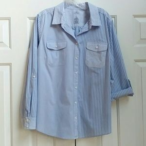 Fun button down shirt, thin blue and white stripes